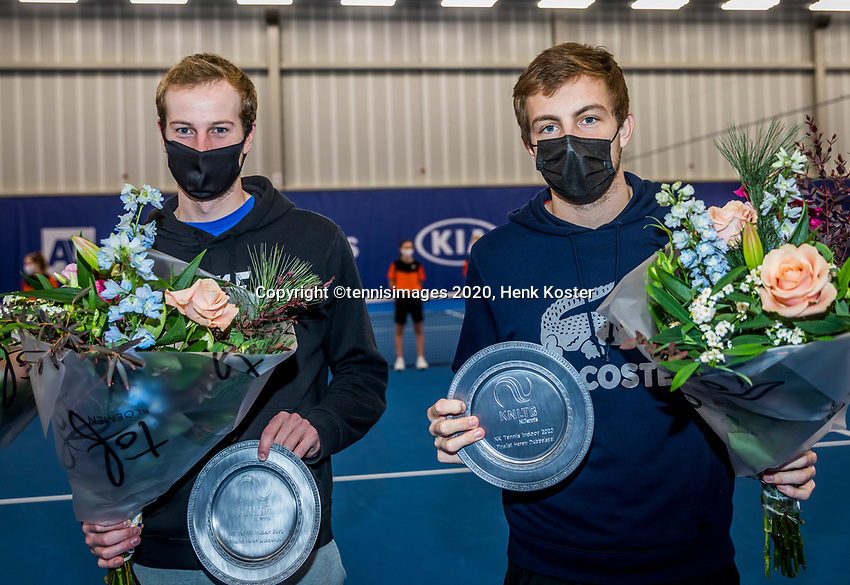 Amstelveen, Netherlands, 20  December, 2020, National Tennis Center, NTC, NK Indoor, National  Indoor Tennis Championships, Men's  Doubles Final   :  runners    <br /> up Botic van de Zandschulp  (NED) and Tallon Griekspoor  (NED) (R)<br /> Photo: Henk Koster/tennisimages.com
