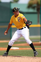 Pittsburgh Pirates pitcher Cesar Lopez #94 during an Instructional League game against the Philadelphia Phillies at Pirate City on October 11, 2011 in Bradenton, Florida.  (Mike Janes/Four Seam Images)