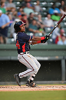 Center fielder Justin Dean (14) of the Rome Braves, a 2018 Braves draft pick from Lenoir-Rhyne, bats in Game 2 of a doubleheader against the Greenville Drive on Friday, August 3, 2018, at Fluor Field at the West End in Greenville, South Carolina. Rome won, 6-3 (Tom Priddy/Four Seam Images)