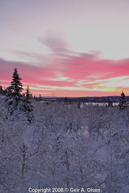 Skiing in December at Venabygdsfjell, Norway