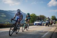 Julian Alaphilippe (FRA/Deceuninck-QuickStep) & Quentin Pacher (FRA/B&B - Vital Concept)<br /> <br /> Stage 16 from La Tour-du-Pin to Villard-de-Lans (164km)<br /> <br /> 107th Tour de France 2020 (2.UWT)<br /> (the 'postponed edition' held in september)<br /> <br /> ©kramon