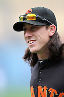 Tim Lincecum #55 of the San Francisco Giants before game against the Los Angeles Dodgers at Dodger Stadium in Los Angeles,California on April 3, 2011. Photo by Larry Goren/Four Seam Images