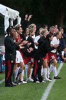 18 November 2007: Dena Floyd, Kate Mannino, Kira Maker, Katie Riley, Lea MacKinnon, Allison Falk, Alicia Jenkins, Sarah Kate Noftsinger, and Rachel Buehler during Stanford's 1-1 double overtime shootout win over California in the second round of the NCAA Division 1 Women's Soccer Championships at Laird Q. Cagan Stadium in Stanford, CA.