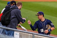 San Antonio Missions second baseman Keston Hiura (18) signs autographs for fans prior to a Pacific Coast League game against the Iowa Cubs on May 2, 2019 at Principal Park in Des Moines, Iowa. Iowa defeated San Antonio 8-6. (Brad Krause/Four Seam Images)