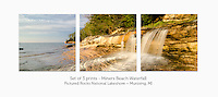 Display a print in a different way with this 3-print photo split of a small waterfall flowing into Lake Superior at Miners Beach, Pictured Rocks National Lakeshore. Munising, MI