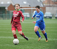 20160206 - Zulte , BELGIUM : Zulte Waregem's Athina Vercaemer (L) and Genk's Kelly Paulus (R) pictured during the soccer match between the women teams of Zulte Waregem and Ladies Genk , in the quartel final matchday of the Belgian CUP - Beker van Belgie voor Vrouwen competition on Saturday 6th February 2016 in Zulte .  PHOTO SPORTPIX.BE DIRK VUYLSTEKE