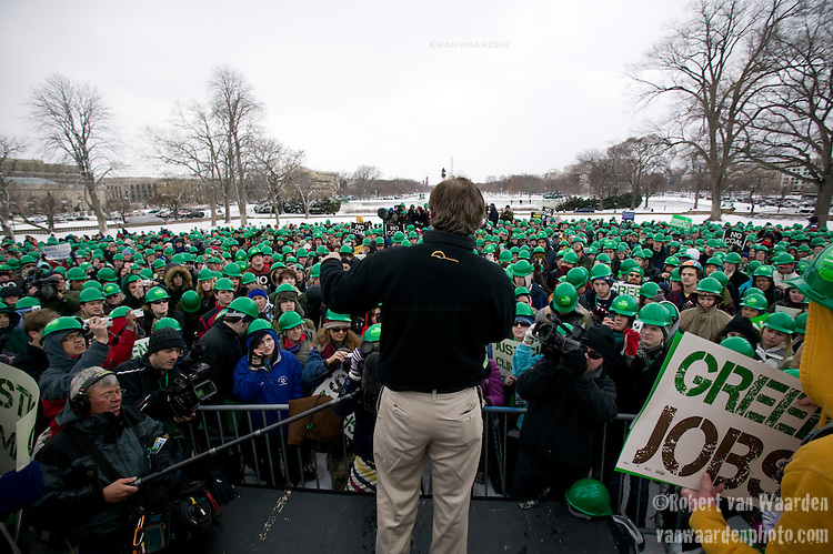 Bobby Kennedy speaks to the crowd of demonstrators on Capitol Hill. During the weekend of March 1st, 2009, thousands of young people gathered in Washington, D.C to discuss climate change and press their governement for action. This rally on Capitol Hill followed on the heels of Powershift 09, the largest ever gathering of young people in the United States for Climate Change. ©Robert vanWaarden ALL RIGHTS RESERVED