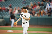 Salt Lake Bees starting pitcher John Lamb (24) during the game against the Albuquerque Isotopes at Smith's Ballpark on April 5, 2018 in Salt Lake City, Utah. Salt Lake defeated Albuquerque 9-3. (Stephen Smith/Four Seam Images)