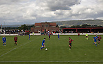 Kirkintilloch Rob Roy 1 Kilsyth Rangers 1, 16/08/2008. Adamslie Park, Sectional League Cup. The Campsie Fells providing the backdrop as Kirkintilloch Rob Roy (in red-and-black) take on local rivals Kilsyth Rangers in a Sectional League Cup (Central) Section 8 tie at soon-to-be demolished Adamslie Park. The game ended in a 1-1 draw allowing Kilsyth to progress to the quarter-finals. Junior football was divided into East, West and North sections and played throughout Scotland. It had its own governing body, the SJFA and regional pyramid structure and national cup competition. Photo by Colin McPherson.