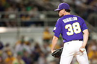 LSU Tigers pitcher Nick Rumbelow #38 looks at his catcher against the Mississippi State Bulldogs during the NCAA baseball game on March 17, 2012 at Alex Box Stadium in Baton Rouge, Louisiana. The 10th-ranked LSU Tigers beat #21 Mississippi State, 4-3. (Andrew Woolley / Four Seam Images).