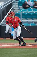 Casey Schmitt (8) of the San Diego State Aztecs follows through on his swing against the UNCG Spartans at Springs Brooks Stadium on February 16, 2020 in Conway, South Carolina. The Spartans defeated the Aztecs 11-4.  (Brian Westerholt/Four Seam Images)