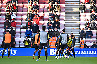 AFC Bournemouth players warm up in front of a home crowd during AFC Bournemouth vs Huddersfield Town, Sky Bet EFL Championship Football at the Vitality Stadium on 12th December 2020