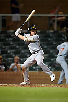 Mesa Solar Sox Nick Allen (3), of the Oakland Athletics organization, at bat during an Arizona Fall League game against the Salt River Rafters on September 19, 2019 at Salt River Fields at Talking Stick in Scottsdale, Arizona. Salt River defeated Mesa 4-1. (Zachary Lucy/Four Seam Images)
