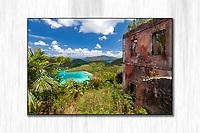 View of the ruins at America Hill looking down at Maho Bay<br /> St. John<br /> US Virgin Islands