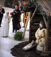 Pope Francis presepe thun during weekly general audience  in the Paul VI Hall at the Vatican   28, December.2016.