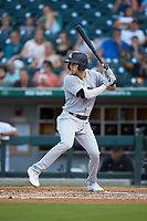 Tyler Wade (9) of the Scranton/Wilkes-Barre RailRiders at bat against the Charlotte Knights at BB&T BallPark on August 14, 2019 in Charlotte, North Carolina. The Knights defeated the RailRiders 13-12 in ten innings. (Brian Westerholt/Four Seam Images)