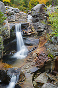 Grafton Notch State Park - Screw Auger Falls on Bear River in Newry, Maine USA during the autumn months.