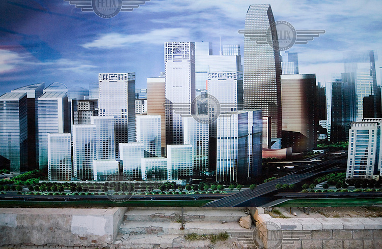 A billboard showing the future look of the central business district (CBD).