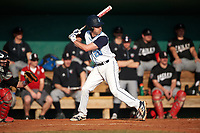 Lasell Lasers third baseman Tyler Flaherty (20) at bat during the first game of a doubleheader against the Edgewood Eagles on March 14, 2016 at Terry Park in Fort Myers, Florida.  Edgewood defeated Lasell 9-7.  (Mike Janes/Four Seam Images)