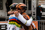 Team mates congratulate World Champion Anna Van der Breggen (NED) Boels Dolmans Cyclingteam after she wins La Fleche Wallonne Femmes 2020, running 124km from Huy to Mur de Huy, Belgium. 30th September 2020.<br /> Picture: ASO/Thomas Maheux | Cyclefile<br /> All photos usage must carry mandatory copyright credit (© Cyclefile | ASO/Thomas Maheux)
