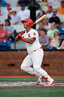 Johnson City Cardinals first baseman Leandro Cedeno (5) hits an RBI single during a game against the Danville Braves on July 28, 2018 at TVA Credit Union Ballpark in Johnson City, Tennessee.  Danville defeated Johnson City 7-4.  (Mike Janes/Four Seam Images)