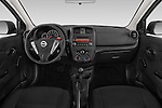 Stock photo of straight dashboard view of a 2015 Nissan Versa 1.6 SV CVT 4 Door Sedan Dashboard