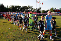 Sky Blue FC starting eleven take the field for pre-game introductions. The Western New York Flash defeated Sky Blue FC 4-1 during a Women's Professional Soccer (WPS) match at Yurcak Field in Piscataway, NJ, on July 30, 2011.