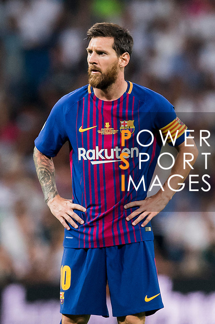 Lionel Andres Messi of FC Barcelona reacts during their Supercopa de Espana Final 2nd Leg match between Real Madrid and FC Barcelona at the Estadio Santiago Bernabeu on 16 August 2017 in Madrid, Spain. Photo by Diego Gonzalez Souto / Power Sport Images
