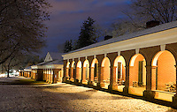 West Range with early morning snow covered lawn at the University of Virginia.