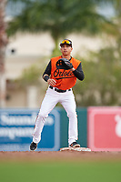 GCL Orioles second baseman Andrew Martinez (6) during a Gulf Coast League game against the GCL Braves on August 5, 2019 at Ed Smith Stadium in Sarasota, Florida.  GCL Orioles defeated the GCL Braves 4-3 in the first game of a doubleheader.  (Mike Janes/Four Seam Images)