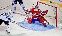 24 January 2009: Montreal Canadiens' goaltender Carey Price gives up a goal to Tampa Bay Lightning rookie center Steven Stamkos during the YoungStars Game where the Rookies defeated the Sophomores 9-5 in the NHL SuperSkills Competition, part of the All-Star Weekend at the Bell Centre in Montreal, Quebec, Canada. ***** Editorial Sales Only ***** Mandatory Photo Credit: Ed Wolfstein Photo