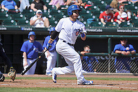 Iowa Cubs Logan Watkins (8) swings during the game against the New Orleans Zephrys at Principal Park on April 14, 2016 in Des Moines, Iowa.  The Cubs won 4-2 .  (Dennis Hubbard/Four Seam Images)