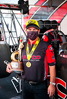 Jul 12, 2020; Clermont, Indiana, USA; NHRA top fuel driver Billy Torrence celebrates after winning the E3 Spark Plugs Nationals at Lucas Oil Raceway. This is the first race back for NHRA since the start of the COVID-19 global pandemic. Mandatory Credit: Mark J. Rebilas-USA TODAY Sports