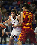 Real Madrid´s Felipe Reyes and Galatasaray´s Erceg during 2014-15 Euroleague Basketball match between Real Madrid and Galatasaray at Palacio de los Deportes stadium in Madrid, Spain. January 08, 2015. (ALTERPHOTOS/Luis Fernandez)