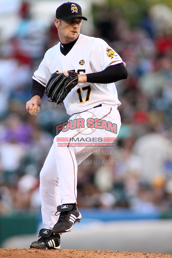 August 10, 2009: Rich Thompson of the Salt Lake Bees, Pacific Cost League Triple A affiliate of the Los Angeles (Anaheim) Angles, during a game at the Spring Mobile Ballpark in Salt Lake City, UT.  Photo by:  Matthew Sauk/Four Seam Images