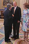 King Juan Carlos and Queen Sofia presided hearing to Atletico de Madrid C.F. at La Zarzuela Palace on september 17th 2012. Arturo Fernandez business man...Photo: POOL / Miguel Cordoba / ALFAQUI