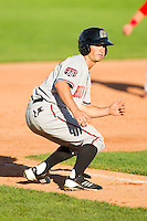 Beau Amaral (41) of the Billings Mustangs takes his lead off of third base against the Orem Owlz at Brent Brown Ballpark on July 22, 2012 in Orem, Utah.  The Mustangs defeated the Owlz 13-8.  (Brian Westerholt/Four Seam Images)