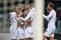 AS Roma players celebrate after scoring a goal <br /> Cagliari 01/03/2020 Sardegna Arena <br /> Football Serie A 2019/2020 <br /> Cagliari Calcio - AS Roma    <br /> Photo Gino Mancini / Insidefoto