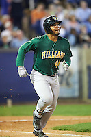 Lynchburg Hillcats first baseman Bobby Bradley (44) jogs to first base during a game against the Wilmington Blue Rocks on June 3, 2016 at Judy Johnson Field at Daniel S. Frawley Stadium in Wilmington, Delaware.  Lynchburg defeated Wilmington 16-11 in ten innings.  (Mike Janes/Four Seam Images)