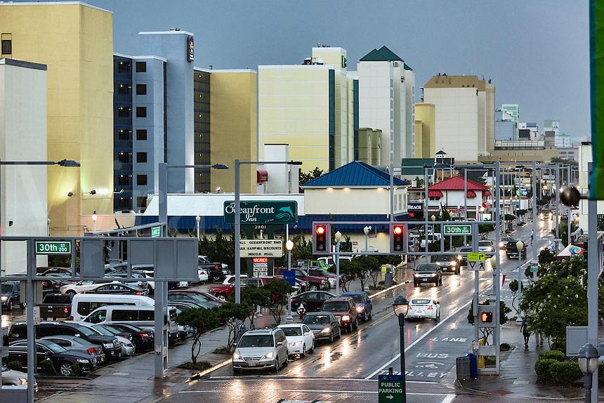 Hotels along Atlantic Avenue in Virginia Beach, Virginia, USA