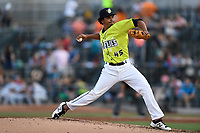 Starting pitcher Harol Gonzalez (45) of the Columbia Fireflies delivers a pitch in a game against the Augusta GreenJackets on Saturday, July 29, 2017, at Spirit Communications Park in Columbia, South Carolina. Columbia won, 3-0. (Tom Priddy/Four Seam Images)