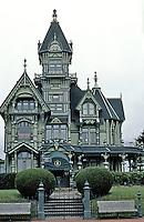 Eureka CA:  Carson House, Frontal Elevation. Architects Samuel & Joseph C. Newsom, 1884-1886.  Photo '83.