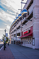 28 September 2014: Exterior Views of the Washington Nationals Parking Garage early in the day, prior to the last game of the regular season against the Miami Marlins at Nationals Park in Washington, DC. The Nationals shut out the Marlins 1-0, caping the season with the first Nationals no-hitter in modern times. The win also notched a 96 win season for the Nats: the best record in the National League. Mandatory Credit: Ed Wolfstein Photo *** RAW (NEF) Image File Available ***