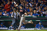 Cleveland Indians Jason Kipnis (22) rounds the bases after hitting a home run in the seventh inning during Game 4 of the Major League Baseball World Series against the Chicago Cubs on October 29, 2016 at Wrigley Field in Chicago, Illinois.  (Mike Janes/Four Seam Images)