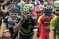 TUNJA - COLOMBIA- 21- 02-2016: Ciclistas, durante la prueba ruta categoría elite hombres entre las ciudades de Sogamoso y Tunja en una distancia 174,6 km kilometros de Los Campeonato Nacionales de Ciclismo 2016, que se realizan en Boyaca. / Cyclists, during the route test Elite men between the towns of Sogamoso and Tunja at a distance of 174,6 km of the National Cycling Championships 2016 performed in Boyaca. / Photo: VizzorImage / Cesar Melgarejo / Cont.