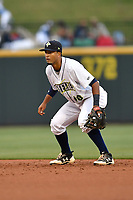 Second baseman Luis Carpio (18) of the Columbia Fireflies plays defense in a game against the Lakewood BlueClaws on Friday, May 5, 2017, at Spirit Communications Park in Columbia, South Carolina. Lakewood won, 12-2. (Tom Priddy/Four Seam Images)
