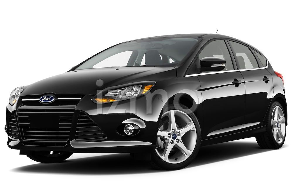 Low aggressive front three quarter view of a 2012 Ford Focus Hatchback Titanium Stock Photo