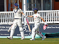 Zak Crawley (L) and Heino Kuhn of Kent enter the field during Kent CCC vs Lancashire CCC, LV Insurance County Championship Group 3 Cricket at The Spitfire Ground on 24th April 2021