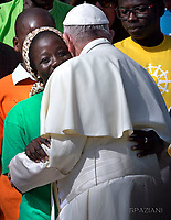 Pope Francis launch a 2-year Caritas Internationalis global campaign on migration entitled 'Share the Journey' to promote the strengthening of relationships between migrants, refugees and communities.<br /> Pope Francis during of a weekly general audience at St Peter's square in Vatican.September 27, 2017