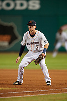 Bowling Green Hot Rods first baseman Justin Bridgman (3) during a game against the Peoria Chiefs on September 15, 2018 at Bowling Green Ballpark in Bowling Green, Kentucky.  Bowling Green defeated Peoria 6-1.  (Mike Janes/Four Seam Images)